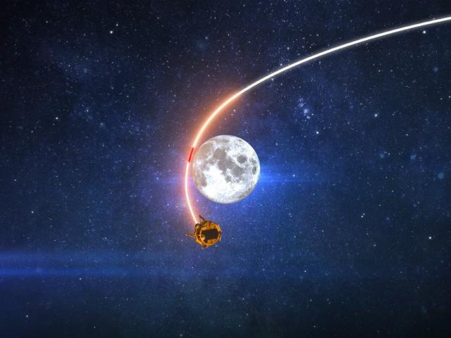 Animation of Beresheet in lunar orbit/Courtesy SpaceIL and IAI