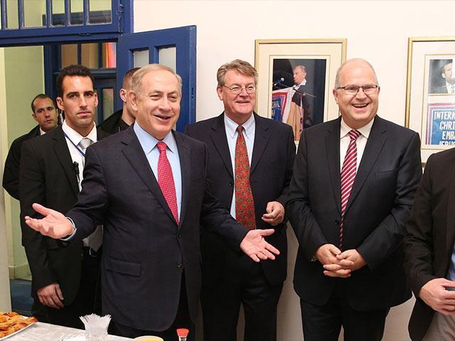 Prime Minister Benjamin Netanyahu at the ICEJ, CBN News image, Jonathan Goff