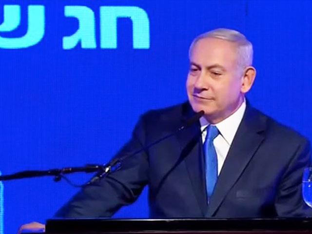 Israeli Prime Minister Benjamin Netanyahu Speaks Out on Police Charges at Likud's Hanukkah Party, Screen Capture, AP