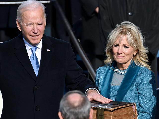 Joe Biden is sworn in as the 46th president of the United States by Chief Justice John Roberts as Jill Biden holds the Bible during the 59th Presidential Inauguration at the U.S. Capitol, Wednesday, Jan. 20, 2021.(Saul Loeb/Pool Photo via AP)