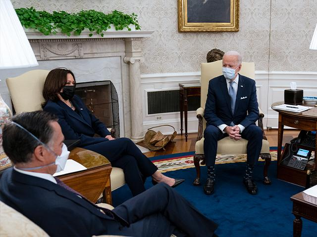 President Joe Biden meets Republican lawmakers to discuss a COVID relief package, Feb. 1, 2021. From left, Sen. Mitt Romney, R-Utah, Vice President Kamala Harris, Biden, and Sen. Susan Collins, R-Maine. (AP Photo/Evan Vucci)