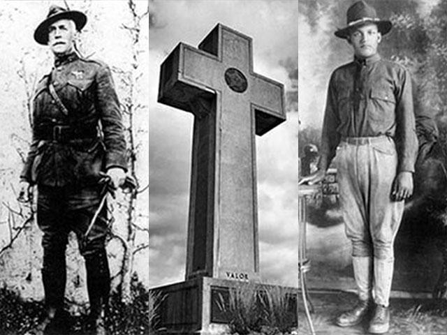 Left to right, Medal of Honor Marine recipient Captain Henry Lewis Hulbert and African-American soldier, Private John Henry Seaburn, Jr. are among the 49 names listed on the listed on the Bladensburg Memorial.  Image courtesy: First Liberty Institute