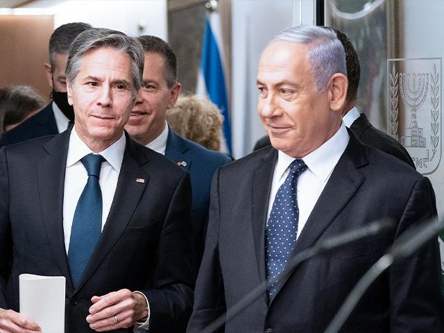 Secretary of State Antony Blinken speaks during a joint statement with Israeli Prime Minister Benjamin Netanyahu at the Prime Minister's office, May 25, 2021, in Jerusalem, Israel. (AP Photo/Alex Brandon, Pool)