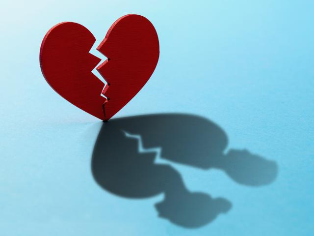 Broken heart couple divorce