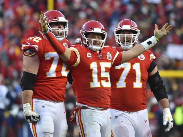 Kansas City Chiefs' Patrick Mahomes and teammates celebrate a victory. (AP Photo/Ed Zurga)