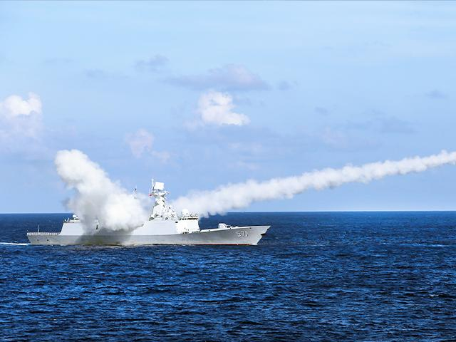 Chinese missile frigate Yuncheng launches an anti-ship missile during a military exercise in the waters near south China's Hainan Island and Paracel Islands.