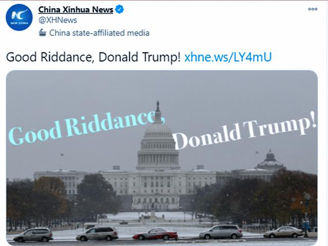 "China's Xinhua News Agency tweeted ""Good riddance"" to Trump"