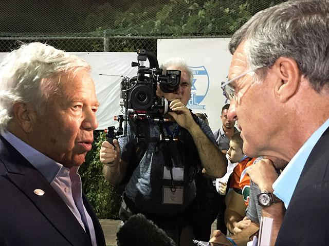New England Patriots Owner Robert Kraft Talks with CBN News Bureau Chief Chris Mitchell, Photo, CBN News, Julie Stahl