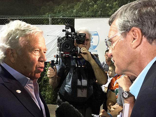 New England Patriots Owner Robert Kraft Talks with CBN News Bureau Chief Chris Mitchell, Photo, CBN News, Julie Stahl