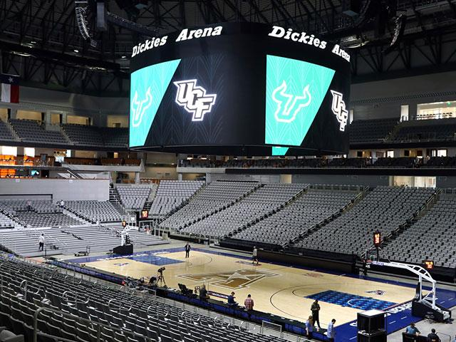 Arena sits empty after the NCAA college basketball games in the American Athletic Conference tournament were canceled Thursday, March 12, 2020 due to coronavirus concerns. (AP Photo/Richard Rodriguez)