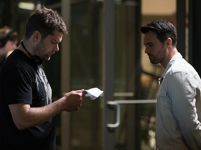 Dallas Jenkins on set with actor Brett Dalton