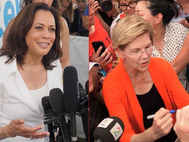 Democratic 2020 candidates like Sen. Kamala Harris (left) and Sen. Elizabeth Warren (right) have been stumping at the Iowa State Fair (AP Photos)