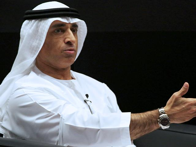 Emirati Ambassador to the U.S. Yousef al-Otaiba gestures during an event with U.S. House Speaker Paul Ryan, at the Emirates Diplomatic Academy, in Abu Dhabi.
