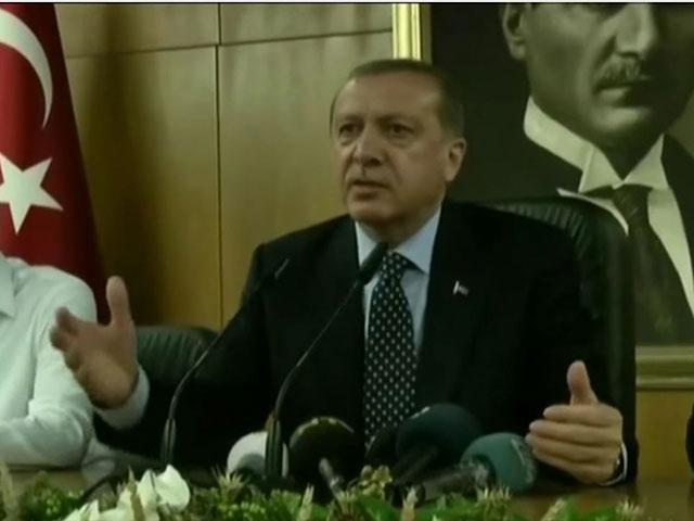 Turkish President Erdogan speaks to reporters, screen capture