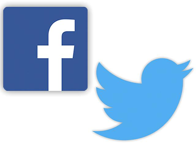 Facebook, Twitter logos