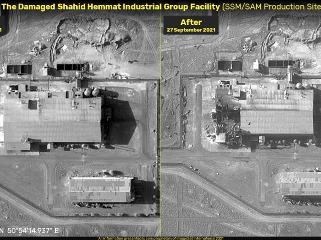 Before and after satellite images of a reported explosion at Iran's Shahid Hammat Industrial Group released by the Tel Aviv-based company ImageSat International.