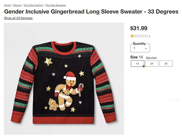 Image: Screenshot of genderless gingerbread sweater at Target
