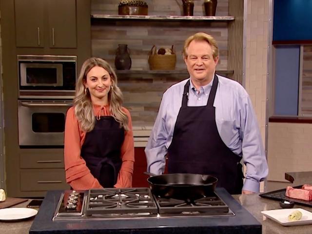 Gordon Robertson and Ashley Key cook steaks