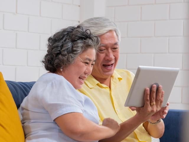 Grandparents on tablet