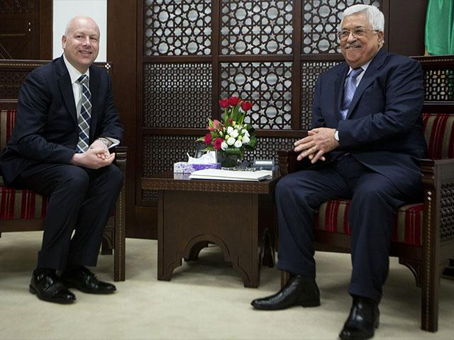 US Mideast Envoy Jason Greenblatt Meets with Palestinian President Mahmoud Abbas in Ramallah in March 2017, Photo, AP