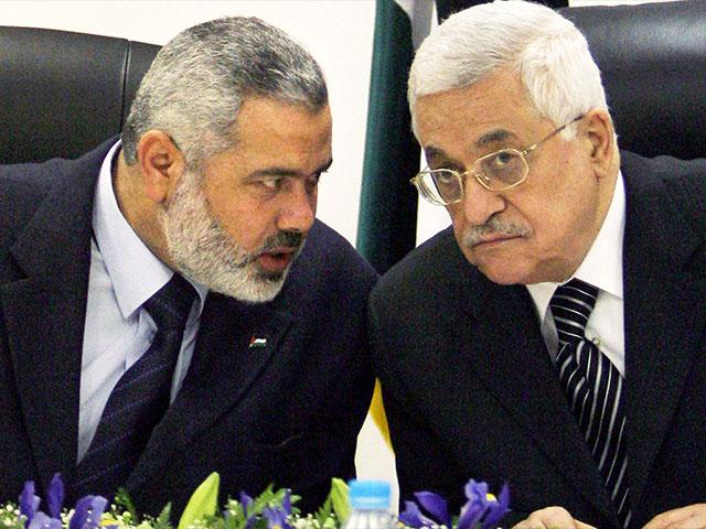 Ismail Haniyeh and Mahmoud Abbas, Photo, AP archive