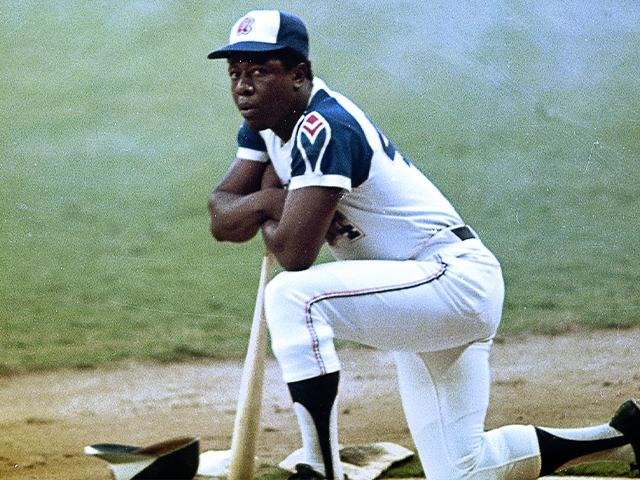 Henry Aaron of the Atlanta Braves is seen, date and location unknown. (AP Photo)