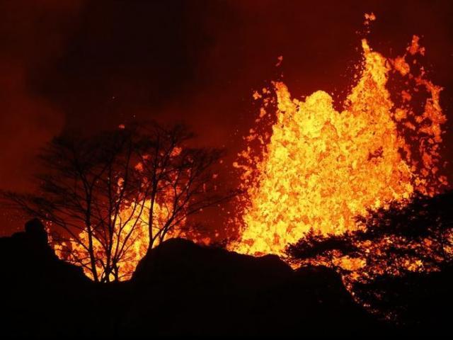 Lava erupts inside the Leilani Estates near Pahoa, Hawaii.