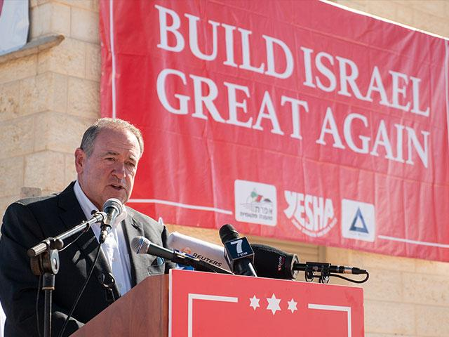Former Arkansas Gov. Mike Huckabee at the dedication ceremony in Efrat, Photo, CBN News, Jonathan Goff