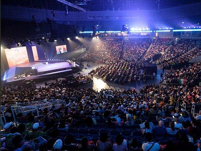 Christian Pilgrims at the ICEJ's 38th Annual Feast of Tabernacles, Photo, CBN News, Jonathan Goff