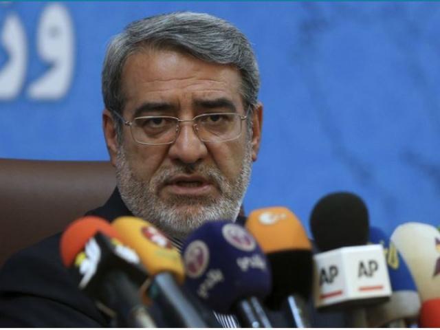Iranian Interior Minister Adolreza Rahmani Fazli speaks during a press conference in Tehran, Iran on Sunday, July 1.