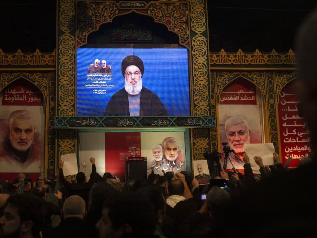 Supporters of Hezbollah leader Nasrallah chant at rally in Lebanon, Sunday, Jan. 5, 2020 (AP Photo)