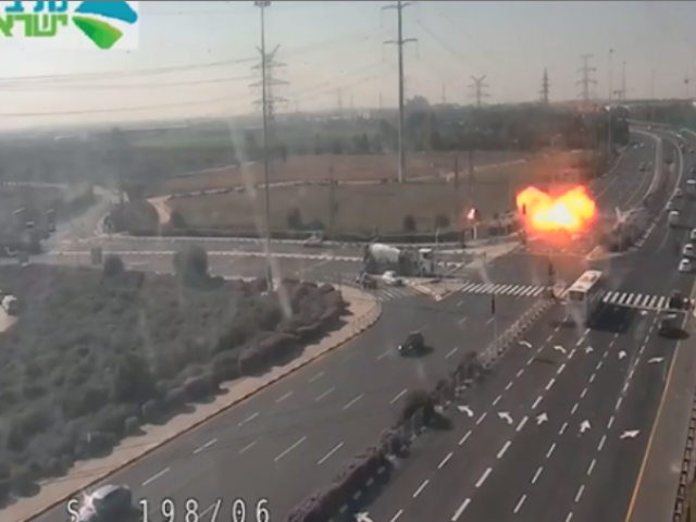 Video from traffic camera captures moment rocket from Gaza strikes a major Israeli highway only meters from several passing vehicles