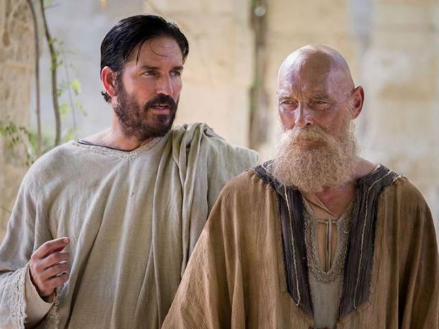 """Jim Caviezel and James Faulkner star in """"Paul, Apostle of Christ."""" Photo courtesy: Affirm Films/Sony Pictures Entertainment."""