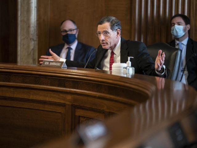Sen. John Barrasso, R-Wyo., speaks during a Senate Committee on Energy and Natural Resources (Sarah Silbiger/Pool Photo via AP, File)