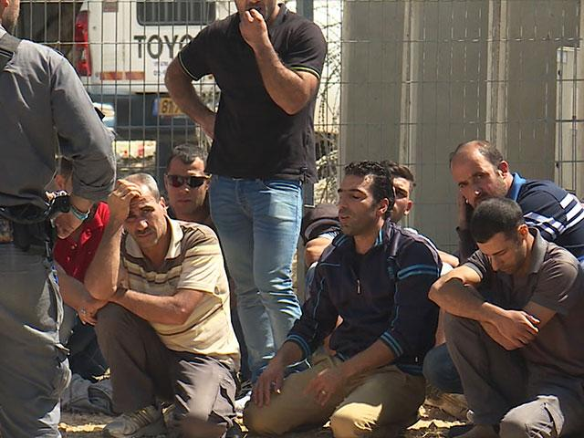 Palestinian Workers after Tuesday's Terror Attack in Har Adar, Photo, CBN News