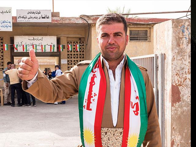 Hopeful Kurdish Man Votes for Independence, Photo, CBN News, Jonathan Goff
