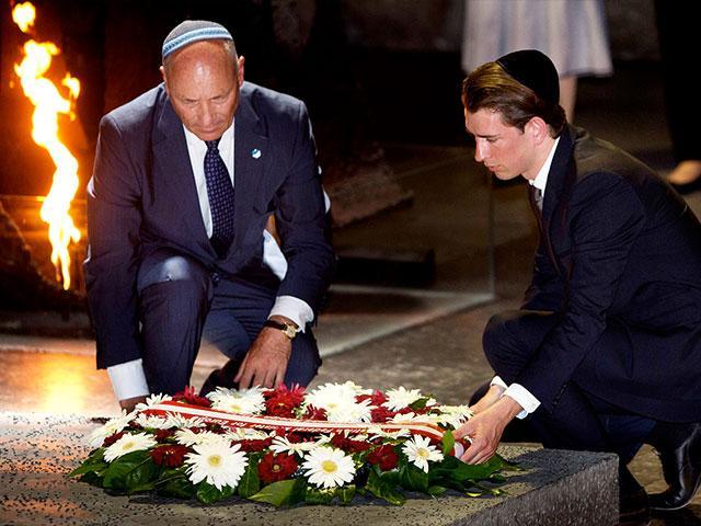 Austrian Chancellor Sebastian Kurz, right, and Austrian Ambassador to Israel Martin Weiss lay a wreath at Yad VaShem Holocaust Memorial, Photo, AP