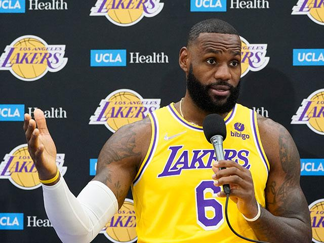 Los Angeles Lakers forward LeBron James fields questions during the NBA basketball team's Media Day Tuesday, Sept. 28, 2021, in El Segundo, Calif. (AP Photo/Marcio Jose Sanchez)