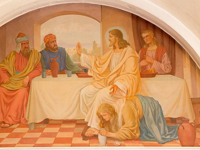 Vienna - Mary Magdalen wash the feet of Jesus by Josef Kastner, Erloserkirche church