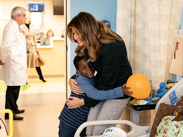 First Lady Melania Trump visits with patients and family members during a tour of the pediatric wing at Boston Medical Center, November 6, 2019 (Official White House Photo by Andrea Hanks)