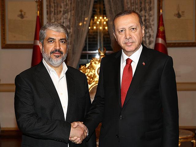 Hamas leader Khaled Meshaal and Turkish President Recep Tayyip Erdogan, AP file photo