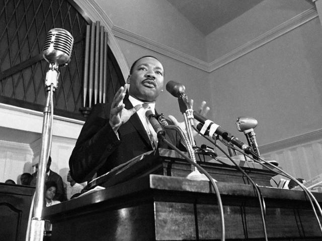 In this 1960 file photo, Martin Luther King Jr. speaks in Atlanta. (AP Photo)