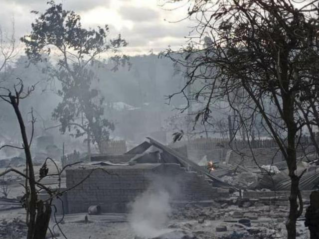 Military troops burn a village in Kinma village, Pauk township, Magwe division, central Myanmar. (AP Photo)