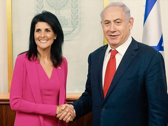 Israeli Prime Minister Benjamin Netanyahu and US Ambassador to the UN Nikki Haley
