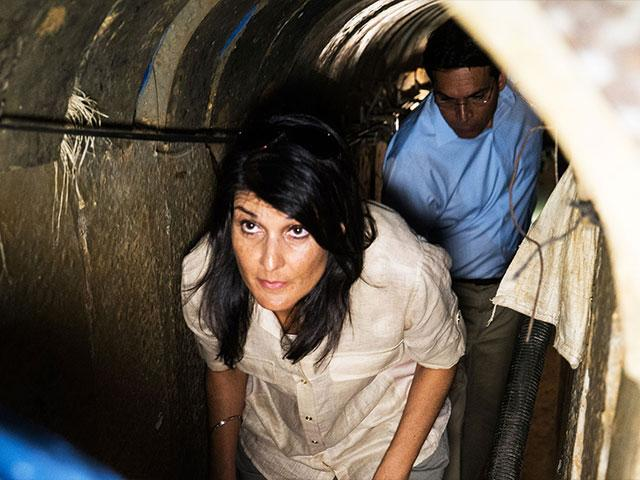 US UN Amb. Nikki Haley gets an inside view of a Hamas terror tunnel, Photo Courtesy IDF