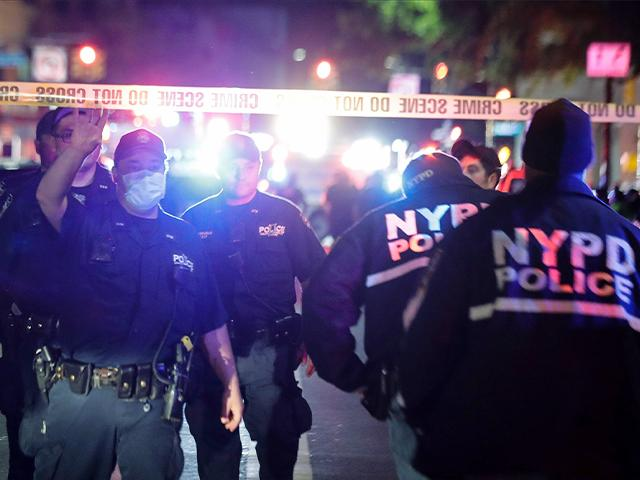 NYPD police officers stabbed and shot in Brooklyn on Wednesday, four hours after an 8 p.m. curfew took effect to quell unrest over the death of George Floyd in Minnesota. (AP Photo/Frank Franklin II)