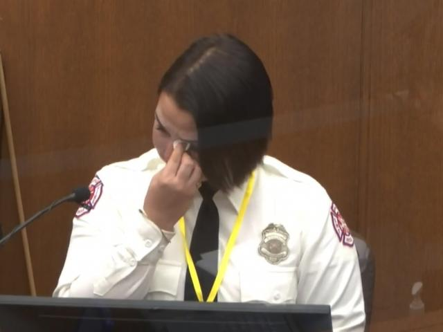 Minneapolis Firefighter Genevieve Hansen at the trial of former Minneapolis police Officer Derek Chauvin (Court TV via AP, Pool)