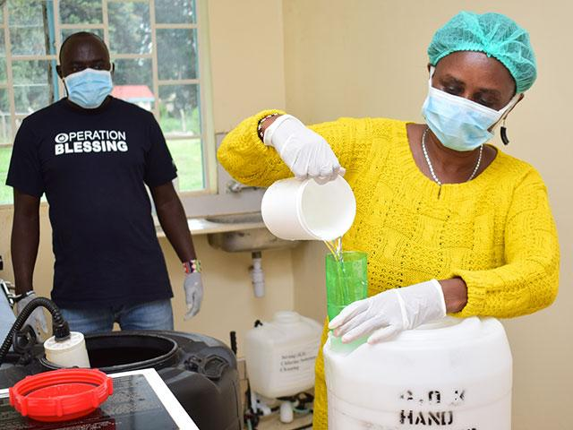 Operation Blessing in Kenya is just one location producing sanitizing chemicals to fight the virus.