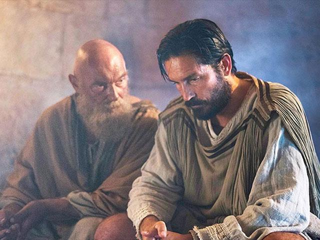 "James Faulkner as the Apostle Paul and Jim Caviezel as Luke, the physician in ""Paul, Apostle of Christ."" Photo Credit: paulmovie.com"