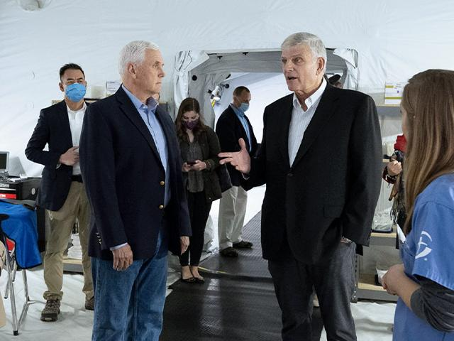 Former Vice President Mike Pence Tours Samaritan's Purse Facilities with Franklin Graham (Photo courtesy: Samaritan's Purse)